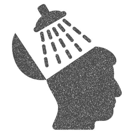 disinfection: Brain Washing grainy textured icon for overlay watermark stamps. Flat symbol with dust texture. Dotted glyph gray ink rubber seal stamp with grunge design on a white background.
