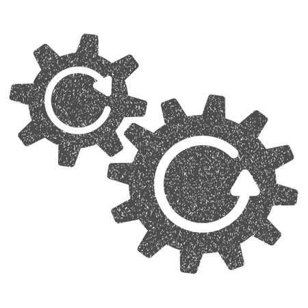 configuration: Cogs Rotation grainy textured icon for overlay watermark stamps. Flat symbol with scratched texture. Dotted glyph gray ink rubber seal stamp with grunge design on a white background.