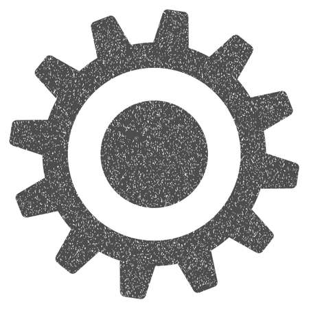 dirty teeth: Cogwheel grainy textured icon for overlay watermark stamps. Flat symbol with unclean texture. Dotted glyph gray ink rubber seal stamp with grunge design on a white background.