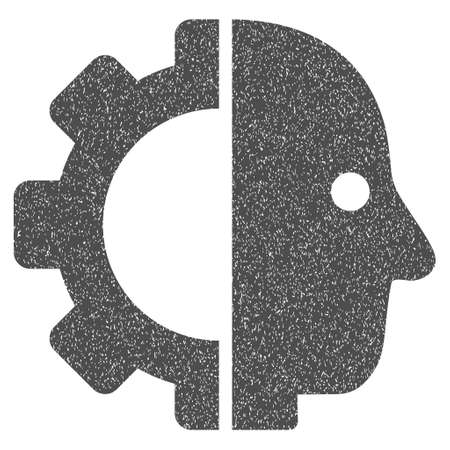 Cyborg Head grainy textured icon for overlay watermark stamps. Flat symbol with dirty texture. Dotted glyph gray ink rubber seal stamp with grunge design on a white background.