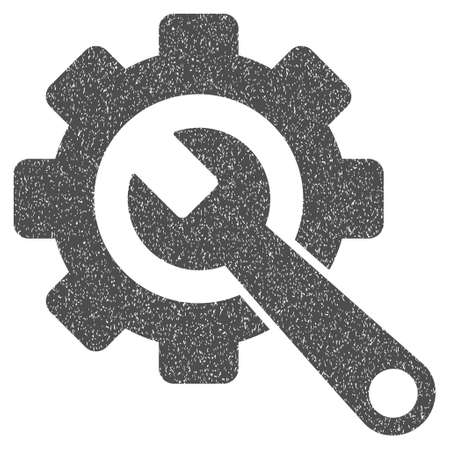 Gear and Wrench grainy textured icon for overlay watermark stamps. Flat symbol with dirty texture. Dotted glyph gray ink rubber seal stamp with grunge design on a white background.