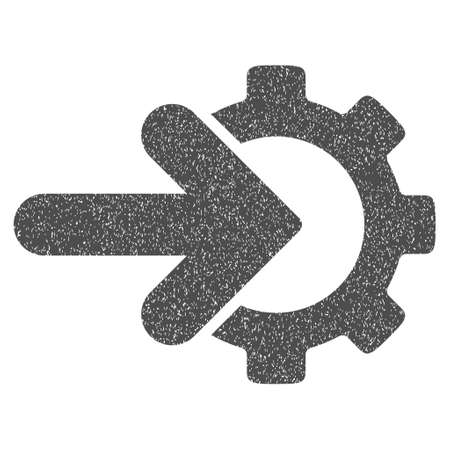 configuration: Gear Integration grainy textured icon for overlay watermark stamps. Flat symbol with unclean texture. Dotted glyph gray ink rubber seal stamp with grunge design on a white background. Stock Photo