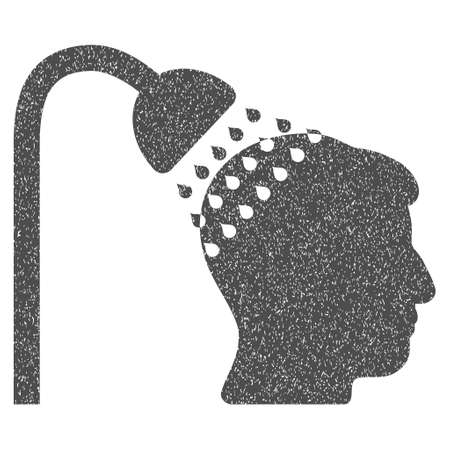 Head Shower grainy textured icon for overlay watermark stamps. Flat symbol with dust texture. Dotted glyph gray ink rubber seal stamp with grunge design on a white background.