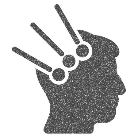 cranial: Neural Interface Connectors grainy textured icon for overlay watermark stamps. Flat symbol with dust texture. Dotted glyph gray ink rubber seal stamp with grunge design on a white background.