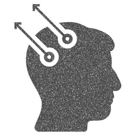 cerebra: Neural Interface Plugs grainy textured icon for overlay watermark stamps. Flat symbol with dust texture. Dotted glyph gray ink rubber seal stamp with grunge design on a white background. Stock Photo
