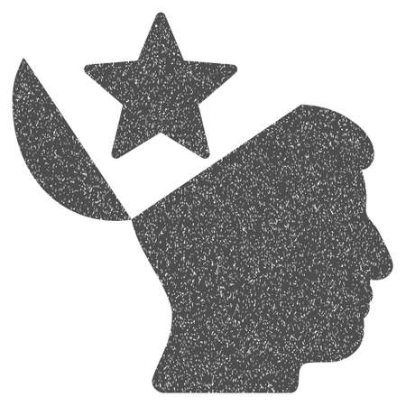 sculp: Open Head Star grainy textured icon for overlay watermark stamps. Flat symbol with dirty texture. Dotted glyph gray ink rubber seal stamp with grunge design on a white background.