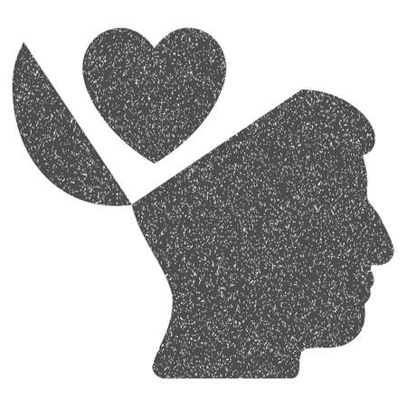 open mind: Open Mind Love Heart grainy textured icon for overlay watermark stamps. Flat symbol with unclean texture. Dotted glyph gray ink rubber seal stamp with grunge design on a white background.