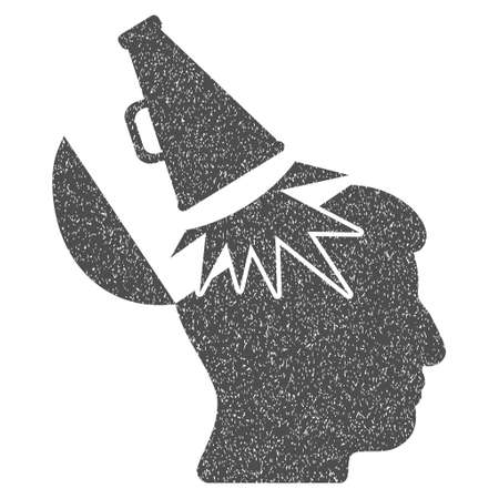 proclaim: Open Mind Megaphone grainy textured icon for overlay watermark stamps. Flat symbol with scratched texture. Dotted glyph gray ink rubber seal stamp with grunge design on a white background.