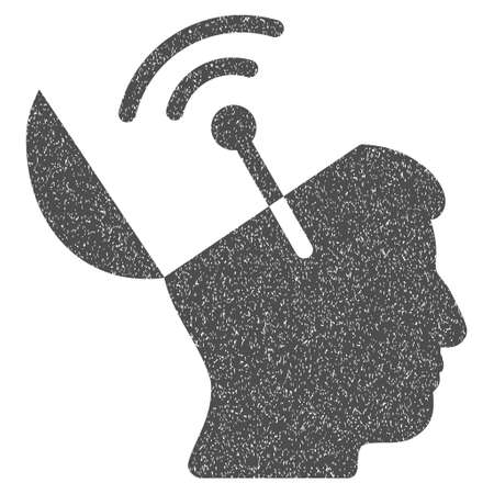 open mind: Open Mind Radio Interface grainy textured icon for overlay watermark stamps. Flat symbol with unclean texture. Dotted glyph gray ink rubber seal stamp with grunge design on a white background.
