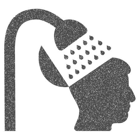 open mind: Open Mind Shower grainy textured icon for overlay watermark stamps. Flat symbol with dirty texture. Dotted glyph gray ink rubber seal stamp with grunge design on a white background.