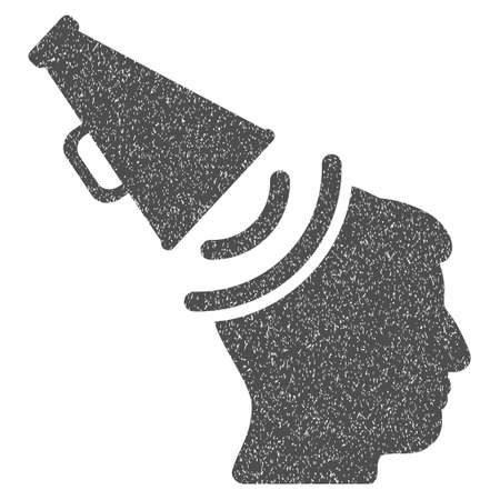 propaganda: Propaganda Megaphone grainy textured icon for overlay watermark stamps. Flat symbol with dirty texture. Dotted glyph gray ink rubber seal stamp with grunge design on a white background.