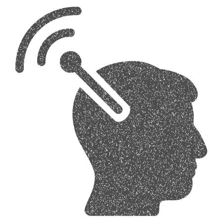 cerebra: Radio Neural Interface grainy textured icon for overlay watermark stamps. Flat symbol with unclean texture. Dotted glyph gray ink rubber seal stamp with grunge design on a white background. Stock Photo