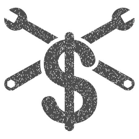 configuration: Repair Service Price grainy textured icon for overlay watermark stamps. Flat symbol with scratched texture. Dotted glyph gray ink rubber seal stamp with grunge design on a white background.