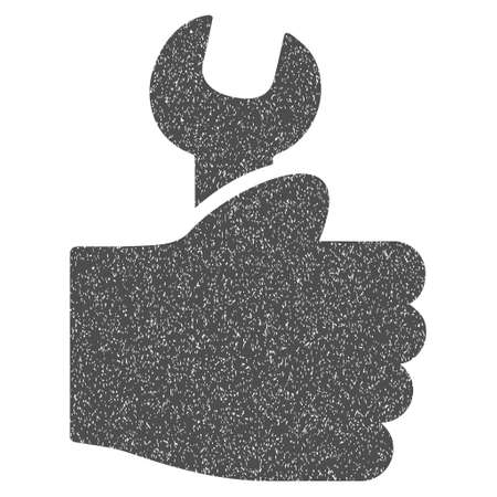 configuration: Service Hand grainy textured icon for overlay watermark stamps. Flat symbol with dust texture. Dotted glyph gray ink rubber seal stamp with grunge design on a white background.