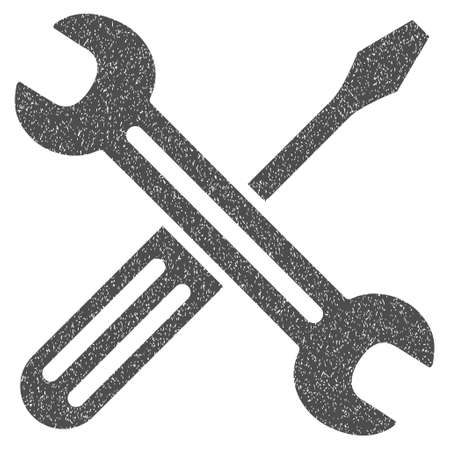Spanner and Screwdriver grainy textured icon for overlay watermark stamps. Flat symbol with dirty texture. Dotted glyph gray ink rubber seal stamp with grunge design on a white background.
