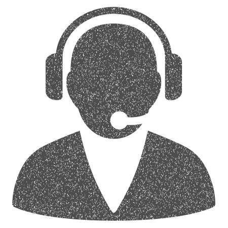 telemarketer: Support Operator grainy textured icon for overlay watermark stamps. Flat symbol with dirty texture. Dotted glyph gray ink rubber seal stamp with grunge design on a white background.