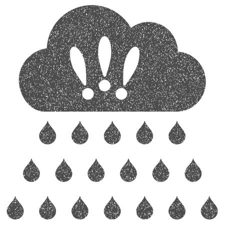 dust cloud: Thunderstorm Rain Cloud grainy textured icon for overlay watermark stamps. Flat symbol with dust texture. Dotted glyph gray ink rubber seal stamp with grunge design on a white background.