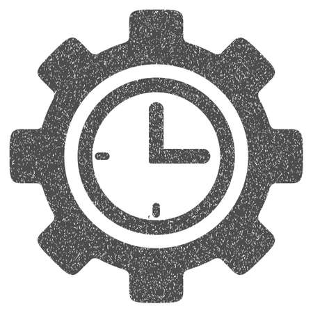 schedule system: Time Setup Gear grainy textured icon for overlay watermark stamps. Flat symbol with scratched texture. Dotted glyph gray ink rubber seal stamp with grunge design on a white background.