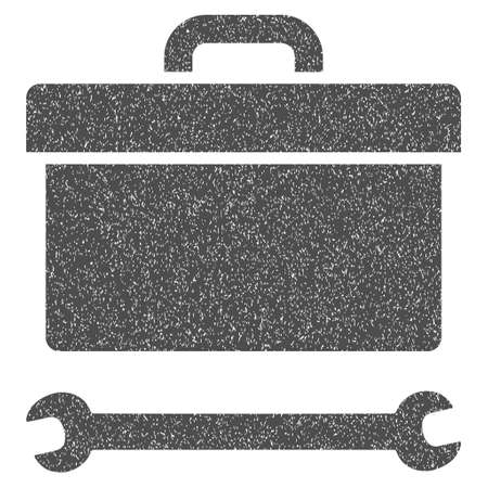 bag icon: Toolbox grainy textured icon for overlay watermark stamps. Flat symbol with unclean texture. Dotted glyph gray ink rubber seal stamp with grunge design on a white background.