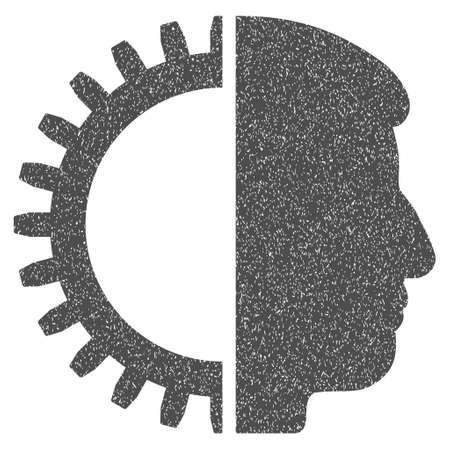 artificial model: Android Head grainy textured icon for overlay watermark stamps. Flat symbol with dust texture. Dotted vector gray ink rubber seal stamp with grunge design on a white background.