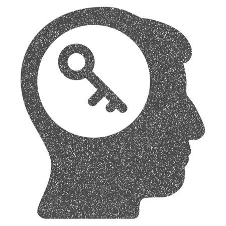 think safety: Brain Key grainy textured icon for overlay watermark stamps. Flat symbol with unclean texture. Dotted vector gray ink rubber seal stamp with grunge design on a white background.