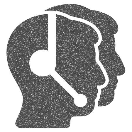 operators: Call Center Operators grainy textured icon for overlay watermark stamps. Flat symbol with scratched texture. Dotted vector gray ink rubber seal stamp with grunge design on a white background.