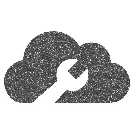 dust cloud: Cloud Wrench Tools grainy textured icon for overlay watermark stamps. Flat symbol with dust texture. Dotted vector gray ink rubber seal stamp with grunge design on a white background. Illustration