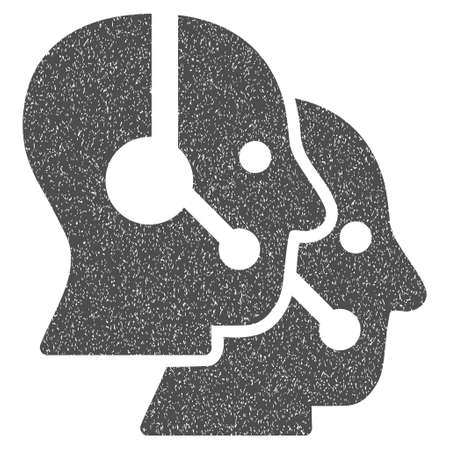 operators: Call Center Operators grainy textured icon for overlay watermark stamps. Flat symbol with unclean texture. Dotted vector gray ink rubber seal stamp with grunge design on a white background.