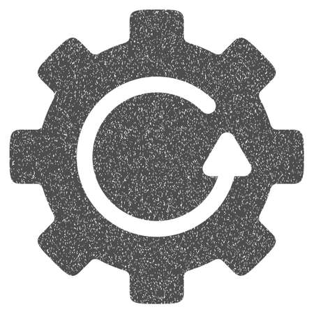 application recycle: Gear Rotation grainy textured icon for overlay watermark stamps. Flat symbol with unclean texture. Dotted vector gray ink rubber seal stamp with grunge design on a white background.