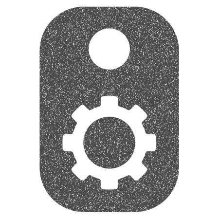 operand: Gear Tag grainy textured icon for overlay watermark stamps. Flat symbol with scratched texture. Dotted vector gray ink rubber seal stamp with grunge design on a white background.