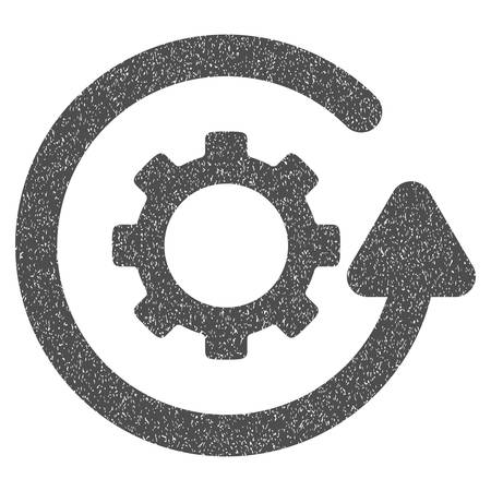 synchronize: Gearwheel Rotation Direction grainy textured icon for overlay watermark stamps. Flat symbol with dust texture. Dotted vector gray ink rubber seal stamp with grunge design on a white background. Illustration