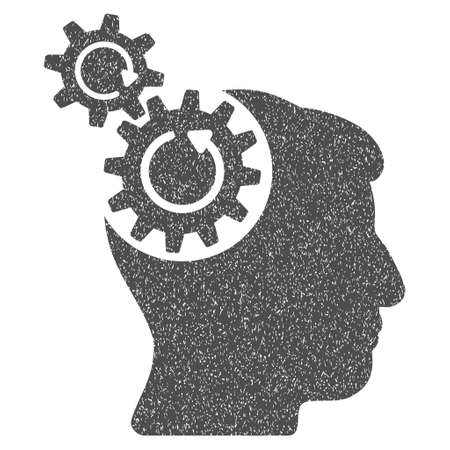 synchronize: Head Cogs Rotation grainy textured icon for overlay watermark stamps. Flat symbol with dust texture. Dotted vector gray ink rubber seal stamp with grunge design on a white background. Illustration