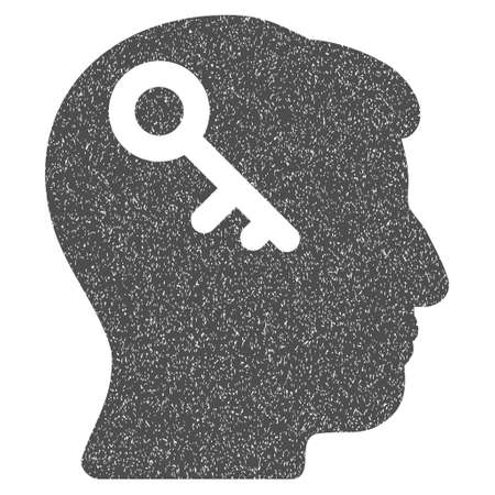latchkey: Head Key grainy textured icon for overlay watermark stamps. Flat symbol with dirty texture. Dotted vector gray ink rubber seal stamp with grunge design on a white background.