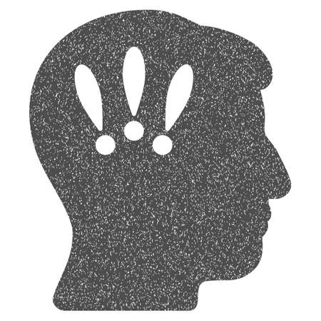 concussion: Head Problems grainy textured icon for overlay watermark stamps. Flat symbol with dirty texture. Dotted vector gray ink rubber seal stamp with grunge design on a white background. Illustration