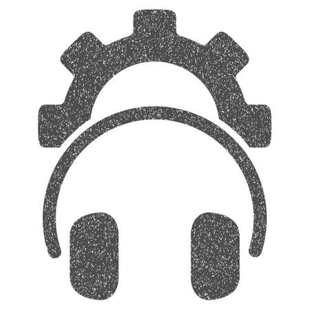 Headphones Configuration Gear grainy textured icon for overlay watermark stamps. Flat symbol with unclean texture. Dotted vector gray ink rubber seal stamp with grunge design on a white background.