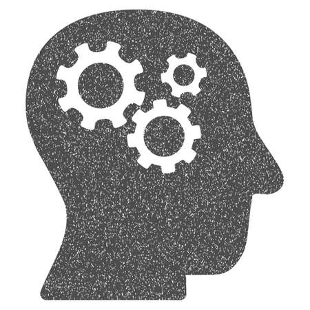 robo: Intellect Gears grainy textured icon for overlay watermark stamps. Flat symbol with unclean texture. Dotted vector gray ink rubber seal stamp with grunge design on a white background. Illustration