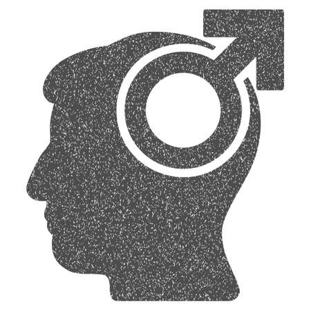 potency: Intellect Potency grainy textured icon for overlay watermark stamps. Flat symbol with unclean texture. Dotted vector gray ink rubber seal stamp with grunge design on a white background. Illustration