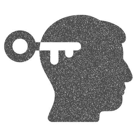 registry: Mind Key grainy textured icon for overlay watermark stamps. Flat symbol with unclean texture. Dotted vector gray ink rubber seal stamp with grunge design on a white background.