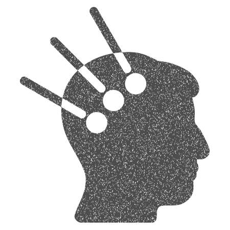 Neural Interface grainy textured icon for overlay watermark stamps. Flat symbol with unclean texture. Dotted vector gray ink rubber seal stamp with grunge design on a white background.
