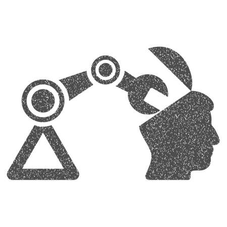 open minded: Open Head Surgery Manipulator grainy textured icon for overlay watermark stamps. Flat symbol with scratched texture. Dotted vector gray ink rubber seal stamp with grunge design on a white background.