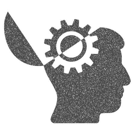 Open Mind Gang körnig texturierten Symbol für Overlay-Wasserzeichen Briefmarken. Flache Symbol mit zerkratzt Textur. Gepunktete Vektor graue Tinte Gummidichtung Stempel mit Grunge-Design auf einem weißen Hintergrund. Vektorgrafik