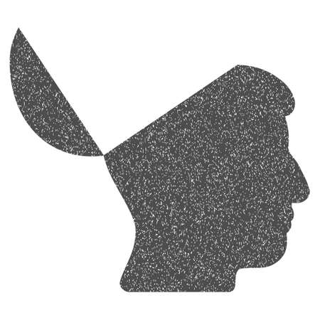 open minded: Open Mind grainy textured icon for overlay watermark stamps. Flat symbol with dirty texture. Dotted vector gray ink rubber seal stamp with grunge design on a white background. Illustration