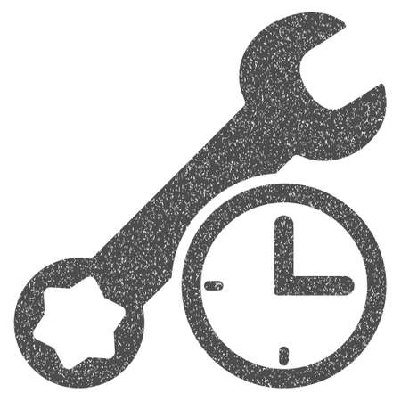 Service Time grainy textured icon for overlay watermark stamps. Flat symbol with scratched texture. Dotted vector gray ink rubber seal stamp with grunge design on a white background.