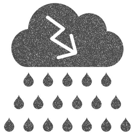 dust cloud: Thunderstorm Rain Cloud grainy textured icon for overlay watermark stamps. Flat symbol with dust texture. Dotted vector gray ink rubber seal stamp with grunge design on a white background.