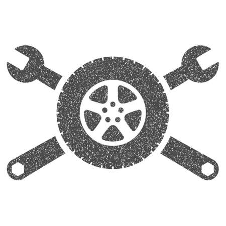 Tire Service Wrenches grainy textured icon for overlay watermark stamps. Flat symbol with unclean texture. Dotted vector gray ink rubber seal stamp with grunge design on a white background. Illustration