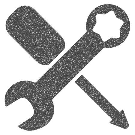 Tools grainy textured icon for overlay watermark stamps. Flat symbol with dirty texture. Dotted vector gray ink rubber seal stamp with grunge design on a white background.