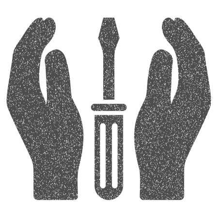 Tuning Screwdriver Care Hands grainy textured icon for overlay watermark stamps. Flat symbol with scratched texture. Dotted vector gray ink rubber seal stamp with grunge design on a white background.