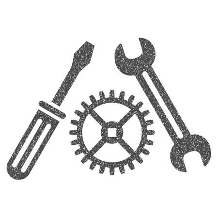 Tuning Service grainy textured icon for overlay watermark stamps. Flat symbol with dust texture. Dotted vector gray ink rubber seal stamp with grunge design on a white background.