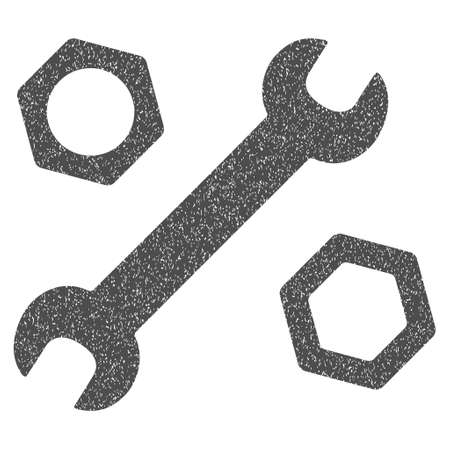 Wrench and Nuts grainy textured icon for overlay watermark stamps. Flat symbol with unclean texture. Dotted vector gray ink rubber seal stamp with grunge design on a white background. Illustration