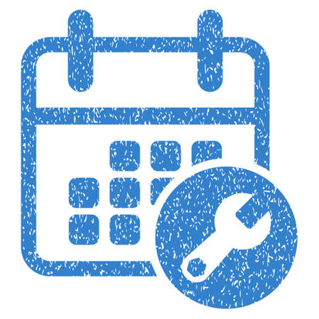 schedule system: Calendar Setup grainy textured icon for overlay watermark stamps. Flat symbol with scratched texture. Dotted vector cobalt ink rubber seal stamp with grunge design on a white background.